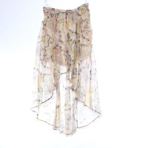 Free People White Floral High Low Maxi Skirt M